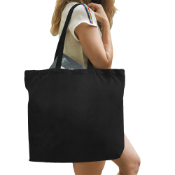 Simply Solid Collection - Black - All Over Print Canvas Tote Bag/Large (Model 1699)