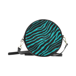 Ripped SpaceTime Stripes - Cyan Round Sling Bag (Model 1647)