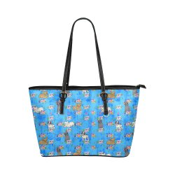 Frenchies in Flowers Leather Tote Bag/Small (Model 1651)