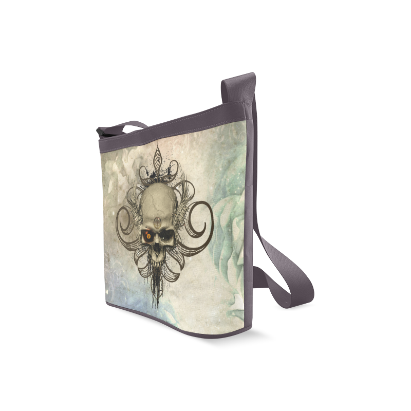 Creepy skull, vintage background Crossbody Bags (Model 1613)