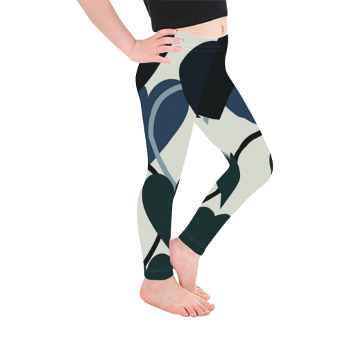 Black & Navy Heart Pattern Girls Leggings Kid's Ankle Length Leggings (Model L06)