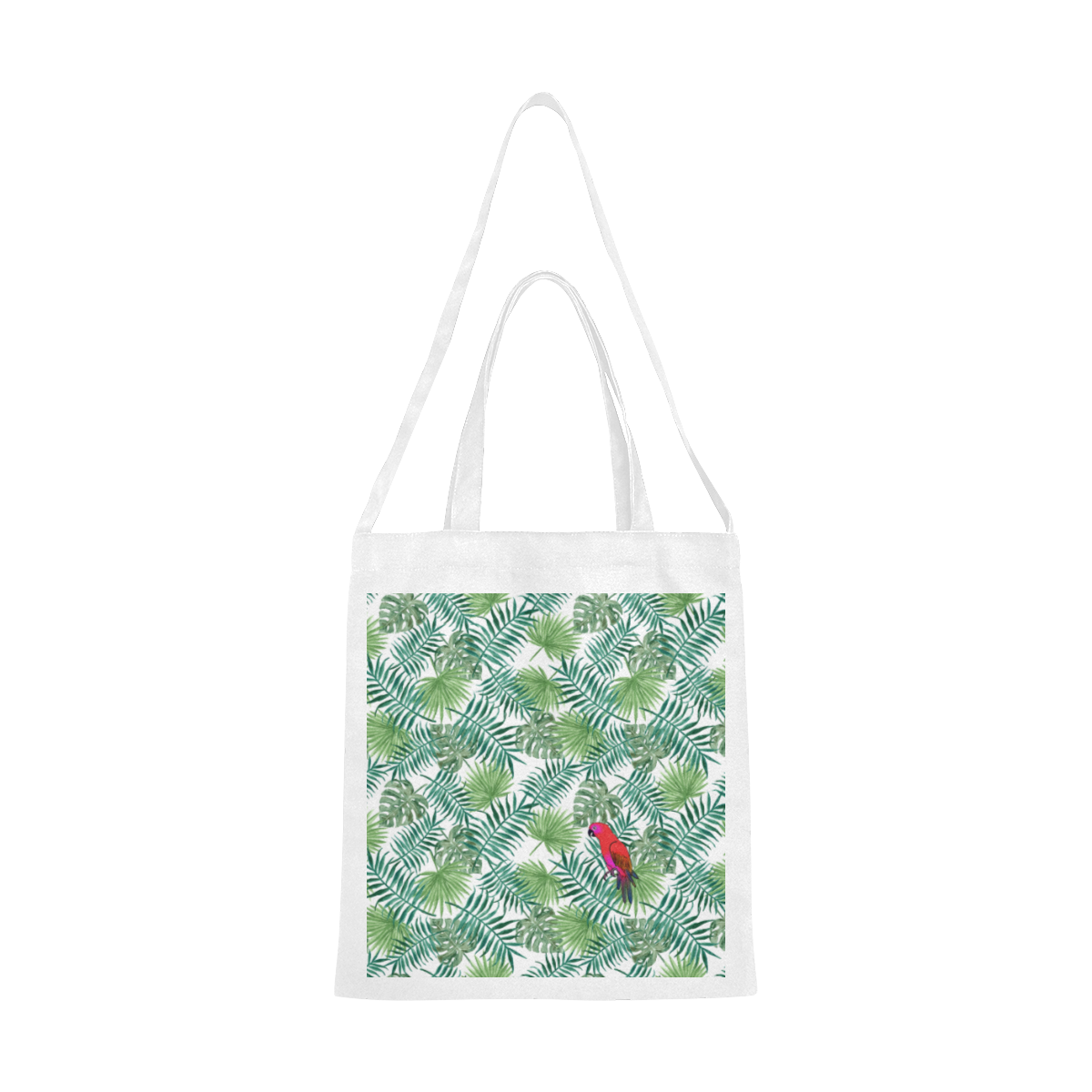 Parrot And Leaves Canvas Tote Bag/Medium (Model 1701)