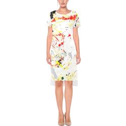 Black, Red, Yellow Paint Splatter Short Sleeves Casual Dress(Model D14)