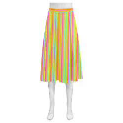 Neon Stripes  Tangerine Turquoise Yellow Pink Mnemosyne Women's Crepe Skirt (Model D16)