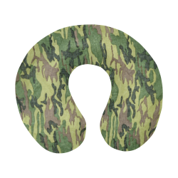 Military Camo Green Woodland Camouflage U-Shape Travel Pillow
