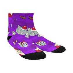 Skiing Santa And Kitty Pattern Quarter Socks