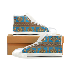Mesopotamian Art High Top Canvas Women's Shoes/Large Size (Model 017)