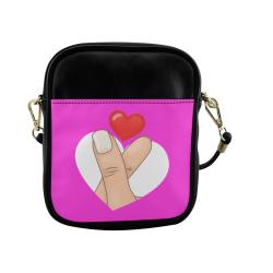 Hand and Finger Heart / Pink Sling Bag (Model 1627)