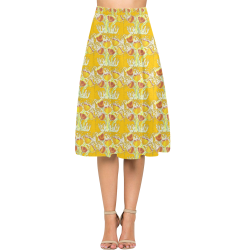 Yellow Crepe Skirt With Yellow Poppies Aoede Crepe Skirt (Model D16)