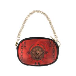 Skulls on red vintage background Chain Purse (Model 1626)
