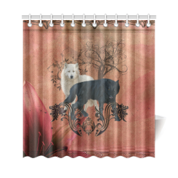 "Awesome black and white wolf Shower Curtain 69""x72"""