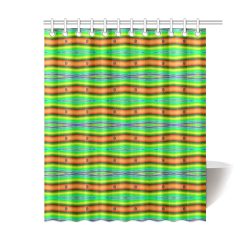 """Bright Green Orange Stripes Pattern Abstract Shower Curtain 60""""x72"""""""