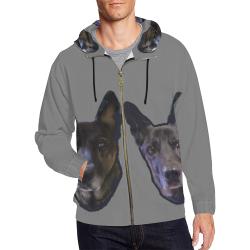 grey jacket front men All Over Print Full Zip Hoodie for Men (Model H14)
