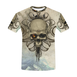 Creepy skull, vintage background All Over Print T-Shirt for Men (USA Size) (Model T40)