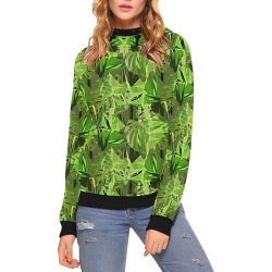 Tropical Jungle Leaves Camouflage High Neck Pullover Hoodie for Women (Model H24)