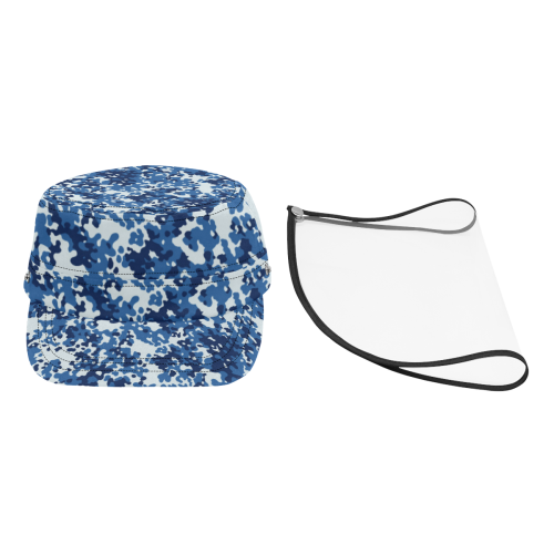 Digital Blue Camouflage Military Style Cap (Detachable Face Shield)