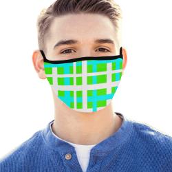 Green & Aqua Interlocking Stripes Mouth Mask