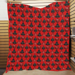 """Las Vegas Black and Red Casino Poker Card Shapes on Red Quilt 60""""x70"""""""