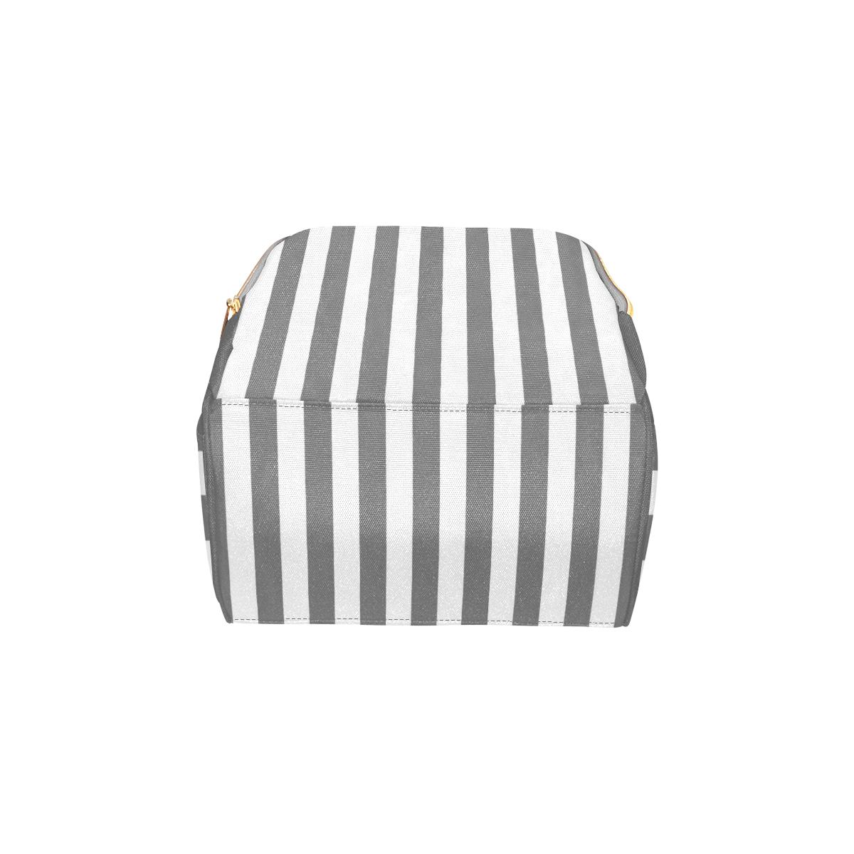 Grey Stripe Pattern Multi-Function Diaper Backpack/Diaper Bag (Model 1688)