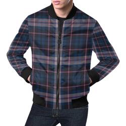 stripe blue pink All Over Print Bomber Jacket for Men (Model H19)