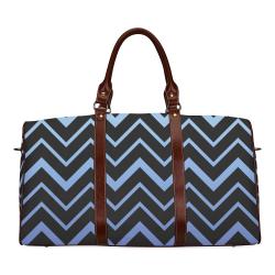 Steel Blue Chevrons on Black Background Waterproof Travel Bag/Large (Model 1639)