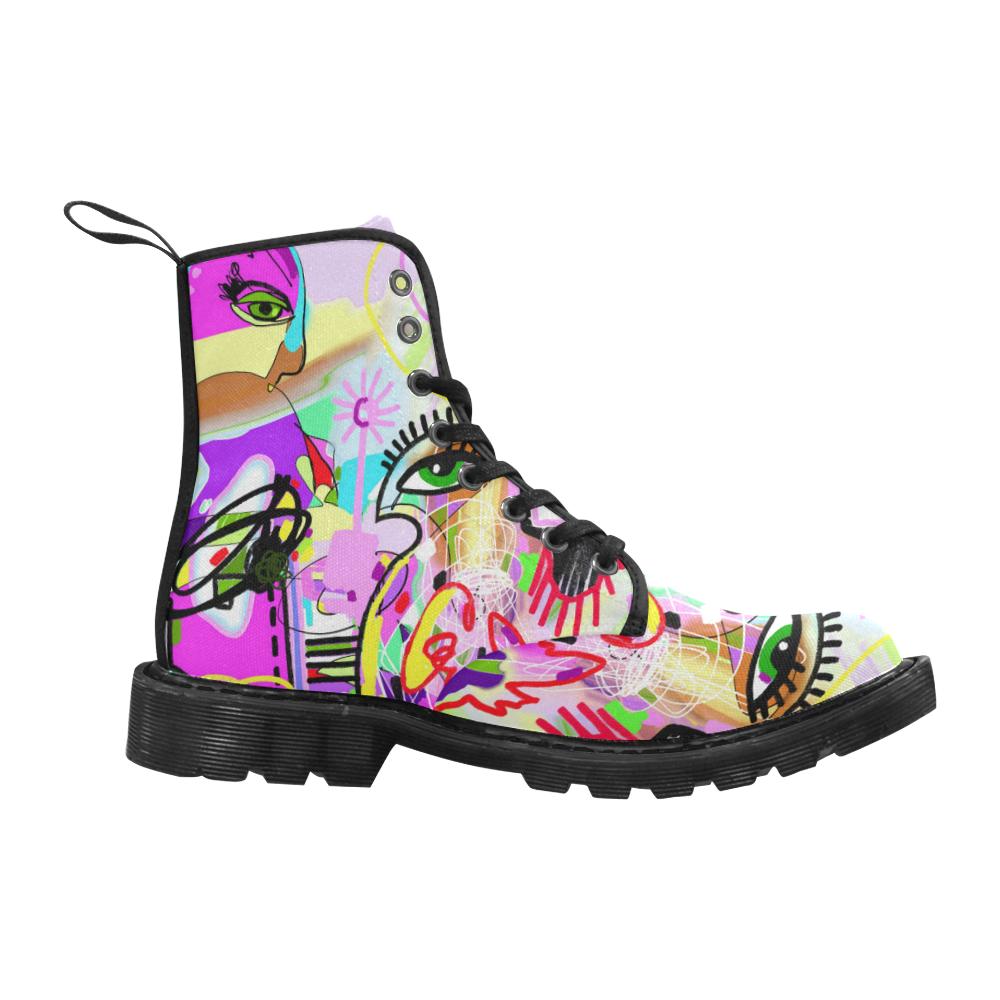 Pink Art Girl Martin Boots for Women (Black) (Model 1203H)
