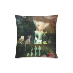"the call telephone fantasy art cat animals owl moonlight illustration beautiful girl Custom Zippered Pillow Case 16""x16""(Twin Sides)"