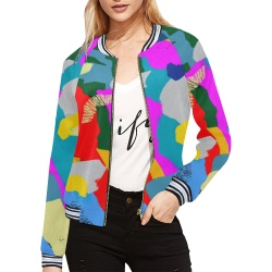 CONFETTI NIGHTS 3 All Over Print Bomber Jacket for Women (Model H21)