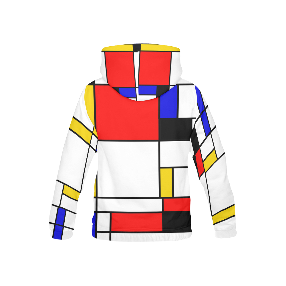 Bauhouse Composition Mondrian Style All Over Print Hoodie for Kid (USA Size) (Model H13)