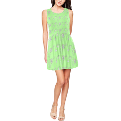 Light Green Floral Skater Dress Thea Sleeveless Skater Dress(Model D19)
