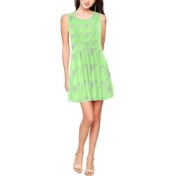 Light Green Floral Skater Dress Thea Sleeveless Skater Dress(Model D19)