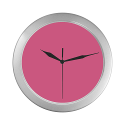 color French pink Silver Color Wall Clock