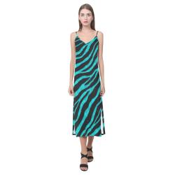 Ripped SpaceTime Stripes - Cyan V-Neck Open Fork Long Dress(Model D18)