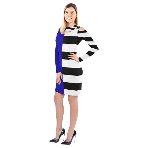 Blue and Stripes Mixed Print Cold Shoulder Long Sleeve Dress (Model D37)