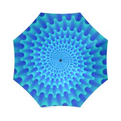 Blue spiral flower Foldable Umbrella (Model U01)