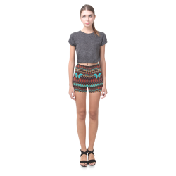 K172 Wood and Turquoise Abstract Pattern Briseis Skinny Shorts (Model L04)