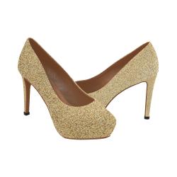 Glitter Gold Party Celebration Women's High Heels (Model 044)