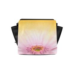 Gerbera Daisy - Pink Flower on Watercolor Yellow Satchel Bag (Model 1635)