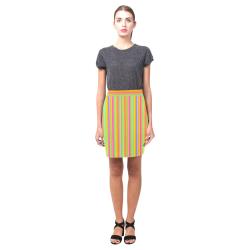 Neon Stripes  Tangerine Turquoise Yellow Pink Nemesis Skirt (Model D02)