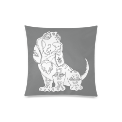 """Color Me Basset Hound Sugar Skull Grey Custom Zippered Pillow Case 20""""x20""""(Twin Sides)"""