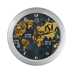 world map watch 3 Silver Color Wall Clock
