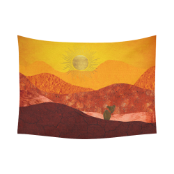 "In The Desert Cotton Linen Wall Tapestry 80""x 60"""