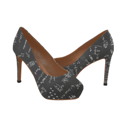 Mathematics Formulas Equations Numbers Women's High Heels (Model 044)
