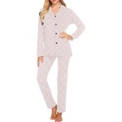 pinkbowtrellislongpjs Women's Long Pajama Set (Sets 02)