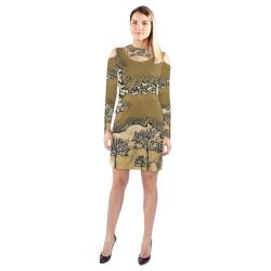 Among Trees2 Cold Shoulder Long Sleeve Dress (Model D37)