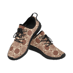 Brown and Beige Flowers Pattern Grus Women's Breathable Woven Running Shoes (Model 022)