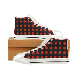 Red Bubbles Women's Classic High Top Canvas Shoes (Model 017)