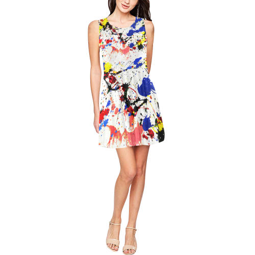 Blue and Red Paint Splatter Thea Sleeveless Skater Dress(Model D19)