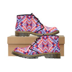 Modern Geometric Pattern Women's Nubuck Chukka Boots (Model 2402)
