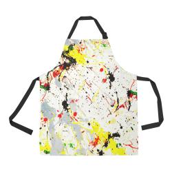 Yellow & Black Paint Splatter All Over Print Apron